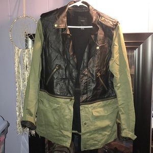 Army green and black utility jacket